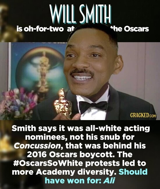 WILL SMITH is oh-for-two at the Oscars CRACKED.COM Smith says it was all-white acting nominees, not his snub for Concussion, that was behind his 2016 Oscars boycott. The #Oscarssowhite protests led to more Academy diversity. Should have won for: Ali