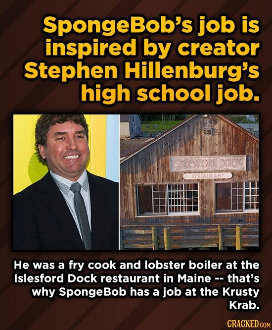 SpongeBob's job is inspired by creator Stephen Hillenburg's high school job. ISROVORODBCIS RESTAURANT He was a fry cook and lobster boiler at the Islesford Dock restaurant in Mainec- that's why SpongeBob has a job at the Krusty Krab.