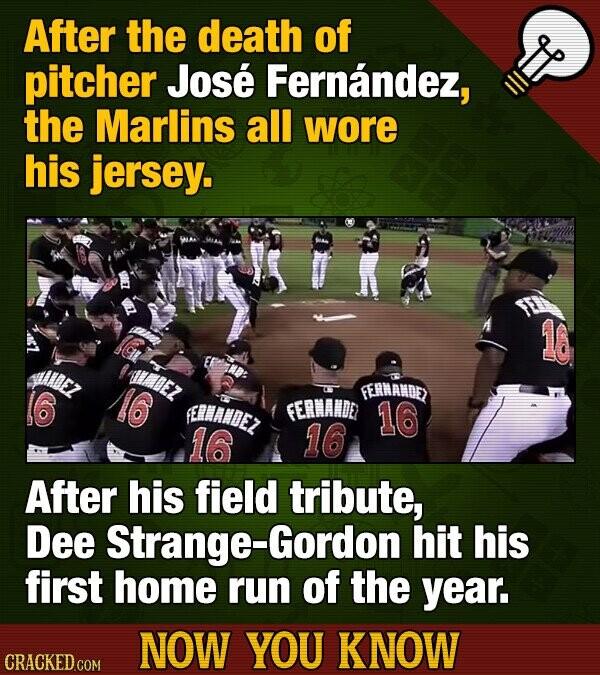 After the death of pitcher Jose Fernandez, the Marlins all wore his jersey. FERMANDE) ERNANDEZ FERANDE 16 10 10 After his field tribute, Dee Strange-G