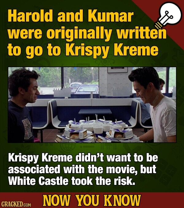 Harold and Kumar were originally written to go to Krispy Kreme Krispy Kreme didn't want to be associATED with the movie, but White Castle took the risk. NOW YOU KNOW CRACKED COM