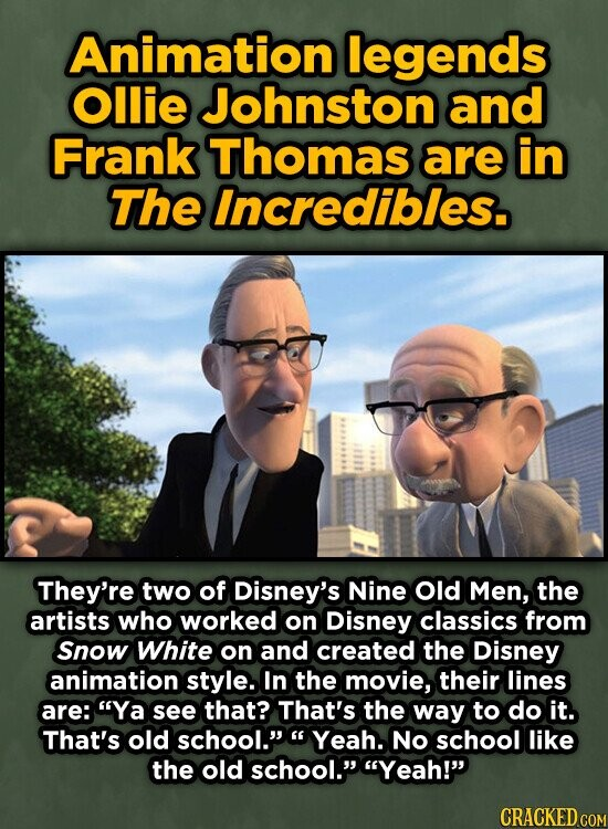 Animation legends Ollie Johnston and Frank Thomas are in The Incredibles. They're two of Disney's Nine old Men, the artists who worked on Disney classics from Snow White on and created the Disney animation style. In the movie, their lines are: Ya see that? That's the way to do it.