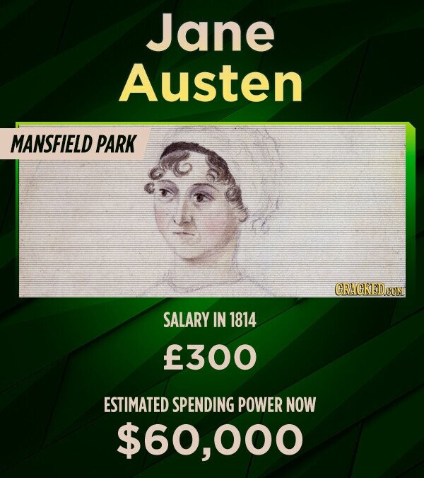 Jane Austen MANSFIELD PARK SALARY IN 1814 f300 ESTIMATED SPENDING POWER NOW $60,000