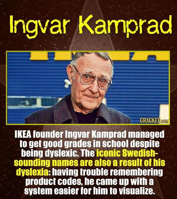 Ingvar Kamprad CRACKEDOON IKEA founder Ingvar Kamprad managed to get good grades in school despite being dyslexic. The iconic swedish- sounding names