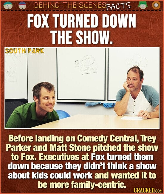 BEHIND-THE-SCENESp FACTS FOX TURNED DOWN THE SHOW. SOUTH PARK Before landing on Comedy Central, Trey Parker and Matt Stone pitched the show to Fox. Executives at Fox turned them down because they didn't think a show about kids could work and wanted it to be more family-centric.