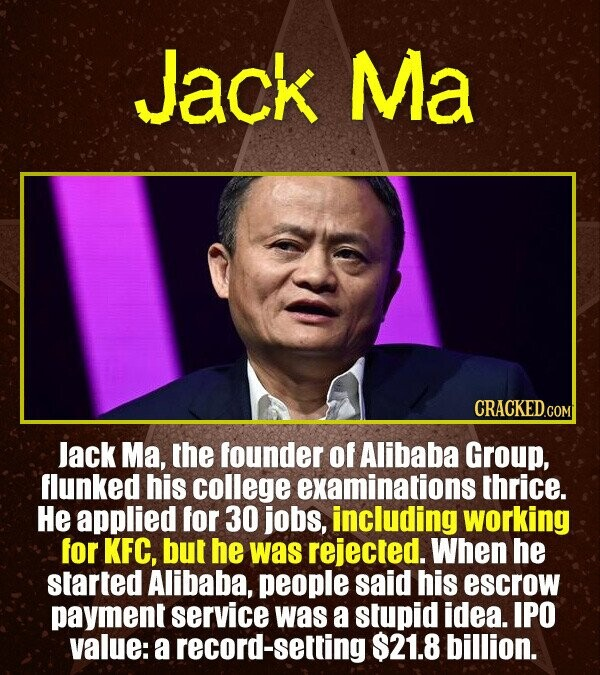 Jack Ma CRACKEDCON lack Ma, the founder of Alibaba Group, flunked his college examinations thrice. He applied for 30 jobs, including working for KFC,