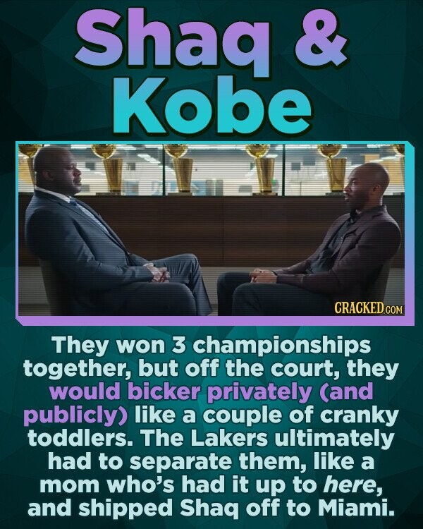 Shaq & Kobe CRACKED CO They won 3 championships together, but off the court, they would bicker privately (and publicly) like a couple of cranky toddlers. The Lakers ultimately had to separate them, like a mom who's had it up to here, and shipped Shaq off to Miami.