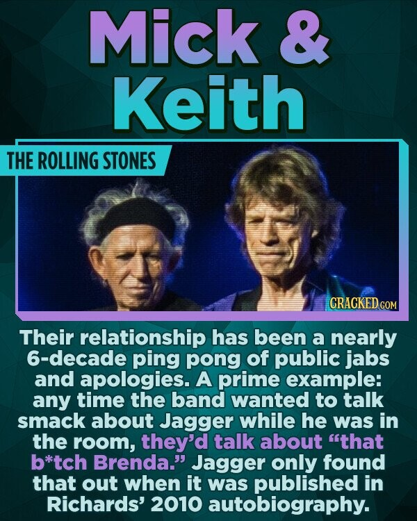 Mick & Keith THE ROLLING STONES CRACKED COR Their relationship has been a nearly 6-decade ping pong of public jabs and apologies. A prime example: any time the band wanted to talk smack about Jagger while he was in the room, they'd talk about that b*tch Brenda. Jagger only found that