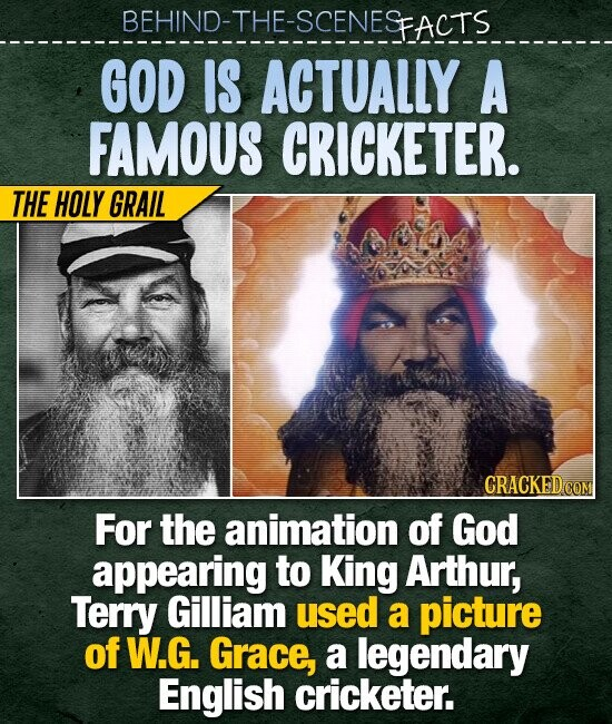 BEHIND-THE-SCENESFACTS GOD IS ACTUALLY A FAMOUS CRICKETER. THE HOLY GRAIL CRACKED COR For the animation of God appearing to King Arthur, Terry Gilliam used a picture of W.G. Grace, a legendary English cricketer.