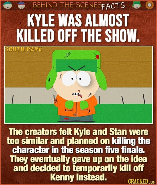 BEHIND-THE-SCENESp FACTS KYLE WAS ALMOST KILLED OFF THE SHOW. SOUTH PARK The creators felt Kyle and Stan were too similar and planned on killing the character in the season five finale. They eventually gave up on the idea and decided to temporarily kill off Kenny instead. CRACKED.COM