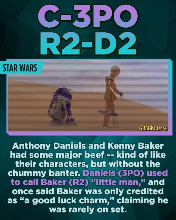 C-3PO R2-D2 STAR WARS CRACKED COM Anthony Daniels and Kenny Baker had some major beef kind of like their characters, but without the chummy banter. Daniels (3PO) used to call Baker (R2) little man, and once said Baker was only credited as a good luck charm, claiming he was rarely on