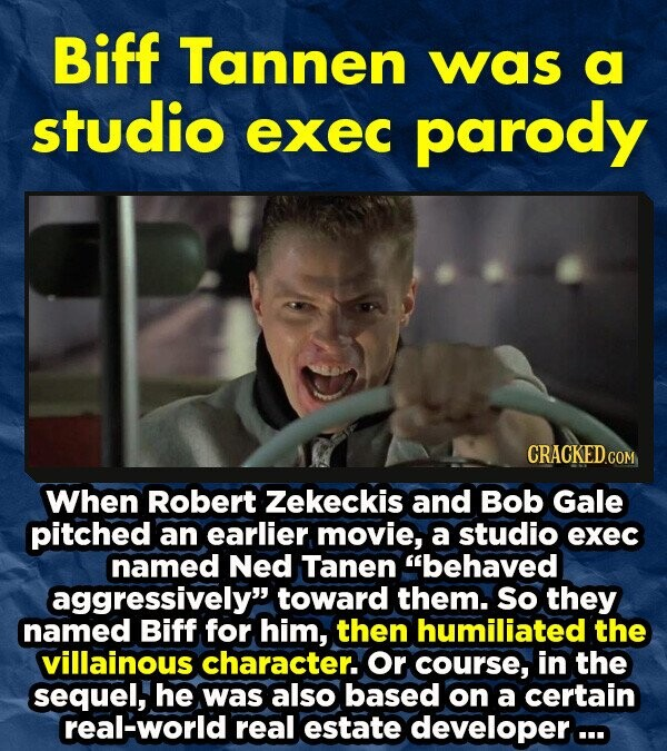 Biff Tannen was a studio exec parody CRACKEDco When Robert Zekeckis and Bob Gale pitched an earlier movie, a studio exec named Ned Tanen behaved aggressively toward them. so they named Biff for him, then humiliated the villainous character. or course, in the sequel, he was also based on a