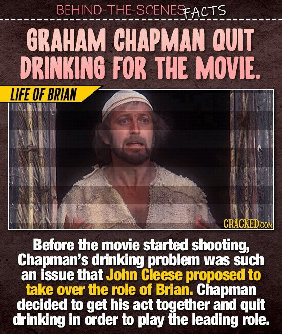 BEHIND-THE-SCENESFACTS GRAHAM CHAPMAN QUIT DRINKING FOR THE MOVIE. LIFE OF BRIAN Before the movie started shooting, Chapman's drinking problem was such an issue that John Cleese proposed to take oveR the role of Brian. Chapman decided to get his act together and quit drinking in order to play the