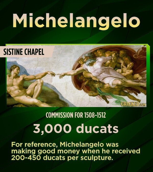 Michelangelo SISTINE CHAPEL CRACKED CON COMMISSION FOR 1508-1512 000 ducats For reference, Michelangelo was making good money when he received 200-450 ducats per sculpture.