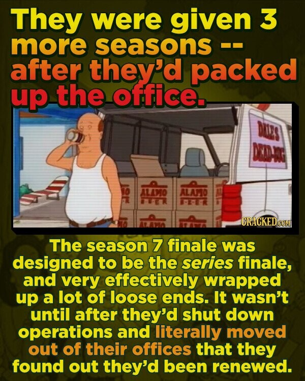 They were given 3 more seasons after they'd packed up the office. Durs N ALTMO ALA.D o ORACKEDO CON The season 7 finale was designed to be the series finale, and very effectively wrapped up a lot of loose ends. It wasn't until after they'd shut down operations and