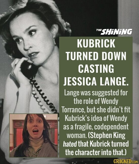 KUBRICK TURNED DOWN CASTING JESSICA LANGE. Lange was suggested for the role of Wendy Torrance, but she didn't fit Kubrick's idea of Wendy as a fragile, codependent woman. (Stephen King hated that Kubrick turned the character into that.)