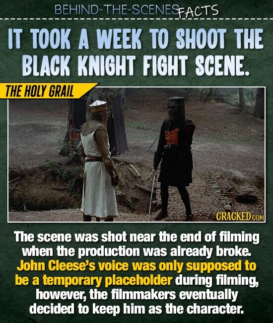 BEHIND-THE-SCENESFACTS IT TOOK A WEEK TO SHOOT THE BLACK KNIGHT FIGHT SCENE. THE HOLY GRAIL CRACKEDC COM The scene was shot near the end of filming when the production was already broke. John Cleese's voice was only supposed to be a temporary placeholder during filming, however, the filmmakers eventually decided