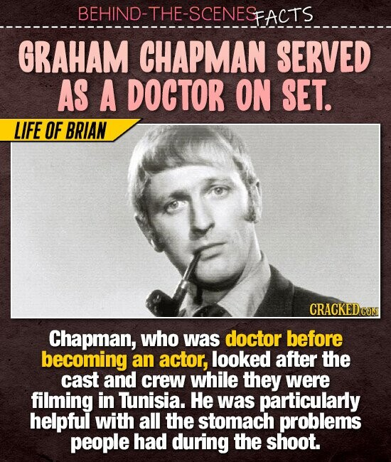 BEHIND-THE-SCENESFACTS GRAHAM CHAPMAN SERVED AS A DOCTOR ON SET. LIFE OF BRIAN Chapman, who was doctor before becoming an actor, looked after the cast and crew while they were filming in Tunisia. He was particularly helpful with all the stomach problems people had during the shoot.