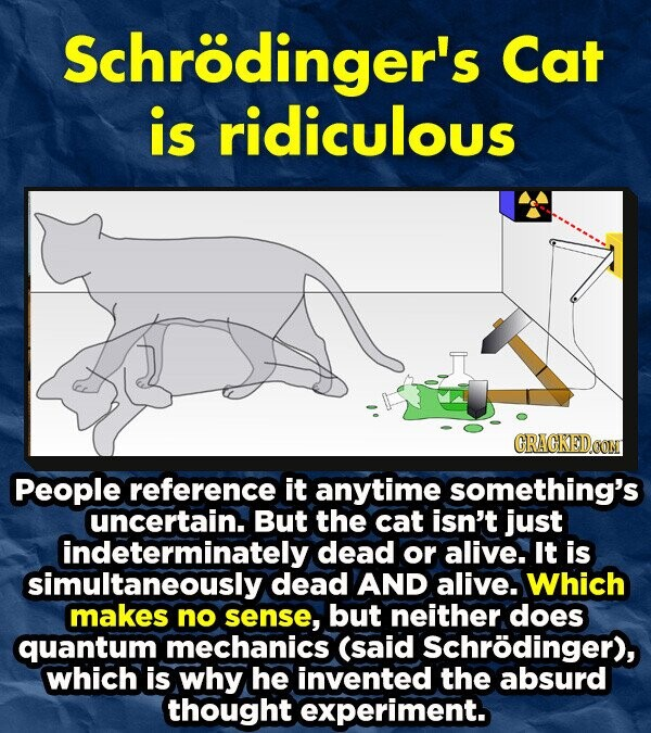 Schrodinger's Cat is ridiculous CRACKEDOON People reference it anytime something's uncertain. But the cat isn't just indeterminately dead or alive. It is simultaneously dead AND alive. Which makes no sense, but neither does quantum mechanics (said Schrodinger), which is why he invented the absurd thought experiment.