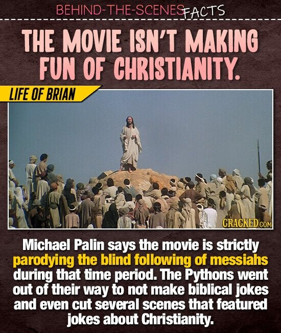 BEHIND-THE-SCENESFACTS THE MOVIE ISN'T MAKING FUN OF CHRISTIANITY. LIFE OF BRIAN CRACKEDCO COM Michael Palin says the movie is strictly parodying the blind following of messiahs during that time period. The Pythons went out of their way to not make biblical jokes and even cut several scenes that featured jokes