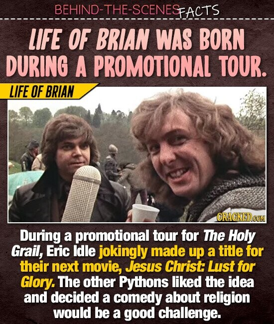 BEHIND-THE-SCENESACTS LIFE OF BRIAN WAS BORN DURING A PROMOTIONAL TOUR. LIFE OF BRIAN ORACKED During a promotional tour for The Holy Grail, Eric ldle jokingly made up a title for their next movie, Jesus Christ: Lust for Glory. The other Pythons liked the idea and decided a comedy about religion