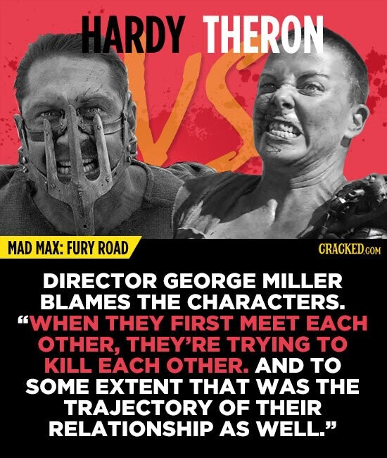 HARDY THERON MAD MAX: FURY ROAD DIRECTOR GEORGE MILLER BLAMES THE CHARACTERS. WHEN THEY FIRST MEET EACH OTHER, THEY'RE TRYING TO KILL EACH OTHER. AND