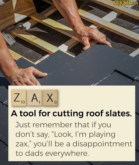 ZAX A tool for cutting roof slates. Just remember that if you don't say, Look, I'm playing zax, you'll be a disappointment to dads everywhere.