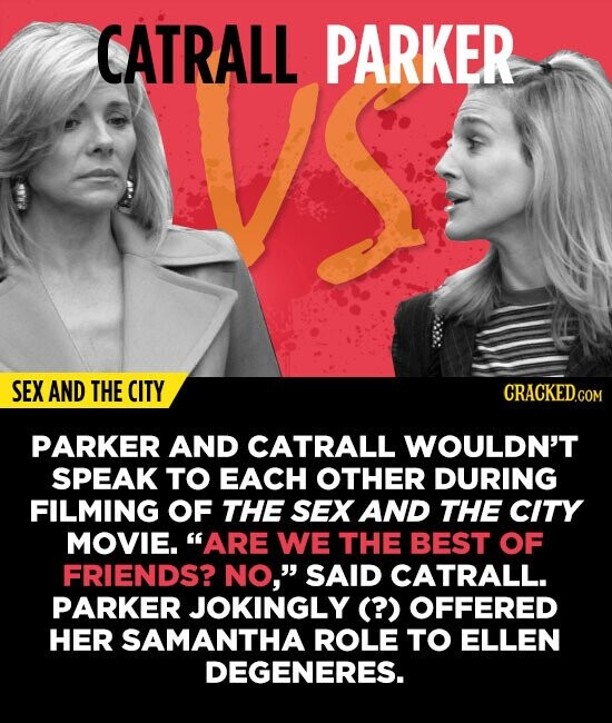 CATRALL PARKER SEX AND THE CITY PARKER AND CATRALL WOULDN'T SPEAK TO EACH OTHER DURING FILMING OF THE SEX AND THE CITY MOVIE. ARE WE THE BEST OF FRIE