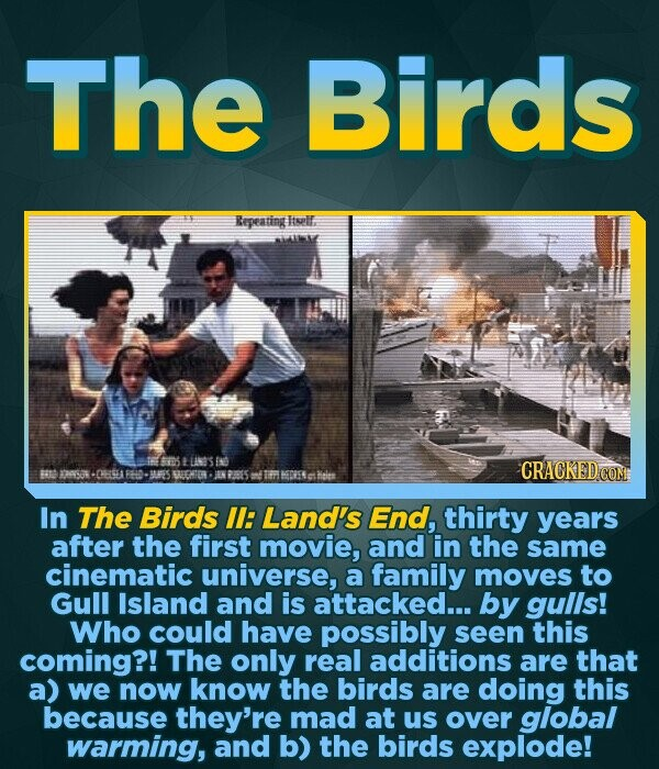 The Birds Repeating liselr. rS LSS CRACKED COM Ba 54 051 FOD BF'S BREEHATOR ENPEDES In The Birds II: Land's End, thirty years after the first movie, and in the same cinematic universe, a family moves to Gull Island and is attacked... by gulis! Who could have possibly seen this coming?! The