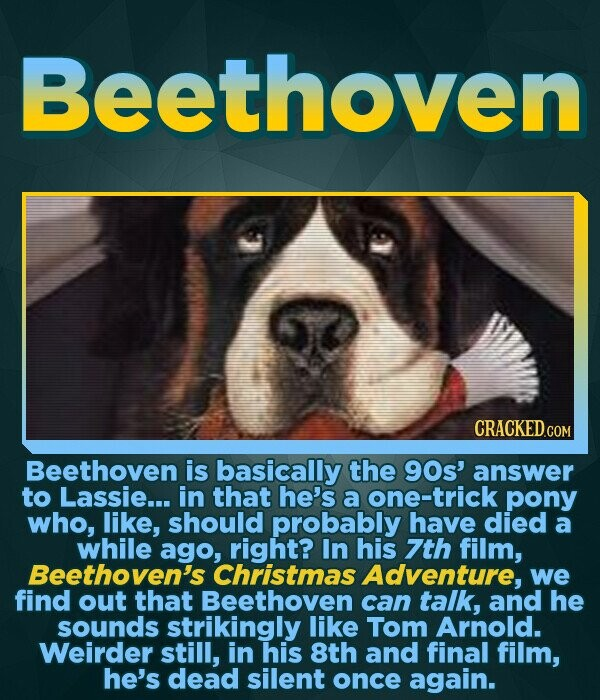 Beethoven Beethoven is basically the 90s' answer to Lassie... in that he's a one-trick pony who, like, should probably have died a while ago, right? In his 7th film, Beethoven's Christmas Adventure, we find out that Beethoven can talk, and he sounds strikingly like Tom Arnold. Weirder still, in