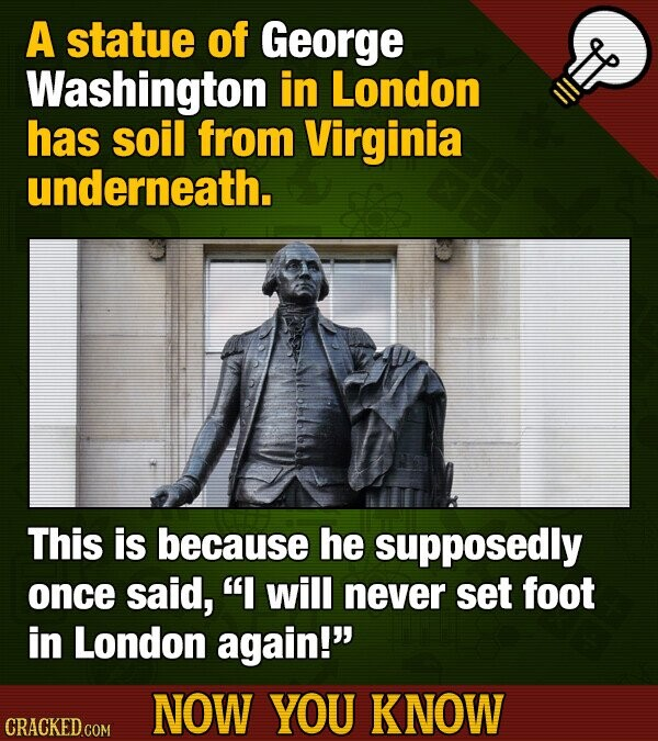 A statue of George Washington in London has soil from Virginia underneath. This is because he supposedly once said, I will never set foot in London a
