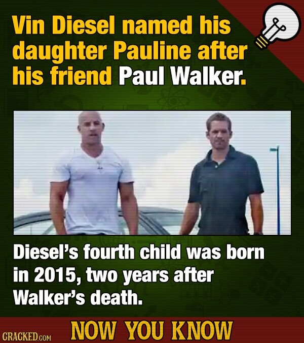 Vin Diesel named his daughter Pauline after his friend Paul Walker. Diesel's fourth child was born in 2015, two years after Walker's death. NOW YOU KN