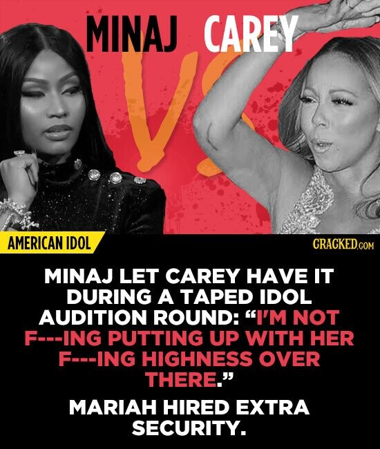 MINAJ CAREY AMERICAN IDOL MINAJ LET CAREY HAVE IT DURING A TAPED IDOL AUDITION ROUND: I'M NOT F-ING PUTTING UP WITH HER F-ING HIGHNESS OVER THERE. M