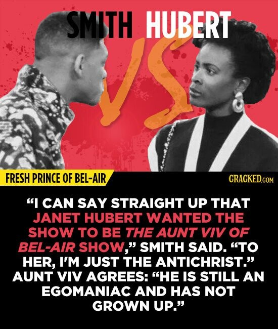 SMITH HUBERT FRESH PRINCE OF BEL-AIR I CAN SAY STRAIGHT UP THAT JANET HUBERT WANTED THE SHOW TO BE THE AUNT VIV OF BEL-AIR SHOW, SMITH SAID. TO HER