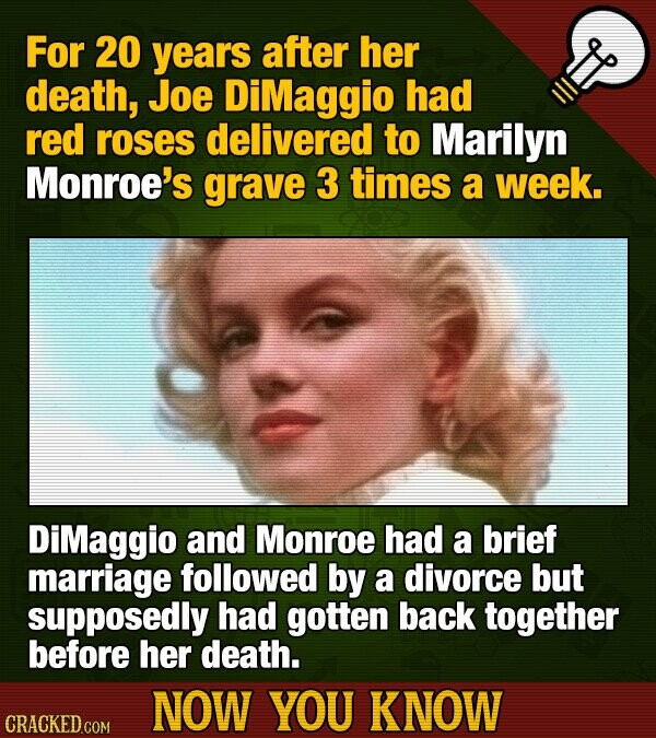 For 20 years after her death, Joe DiMaggio had red roses delivered to Marilyn Monroe's grave 3 times a week. DiMaggio and Monroe had a brief marriage