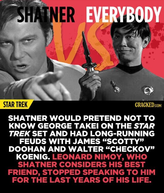 SHATNER EVERYBODY STAR TREK SHATNER WOULD PRETEND NOT TO KNOW GEORGE TAKEI ON THE STAR TREK SET AND HAD LONG-RUNNING FEUDS WITH JAMES SCOTTY DOOHAN