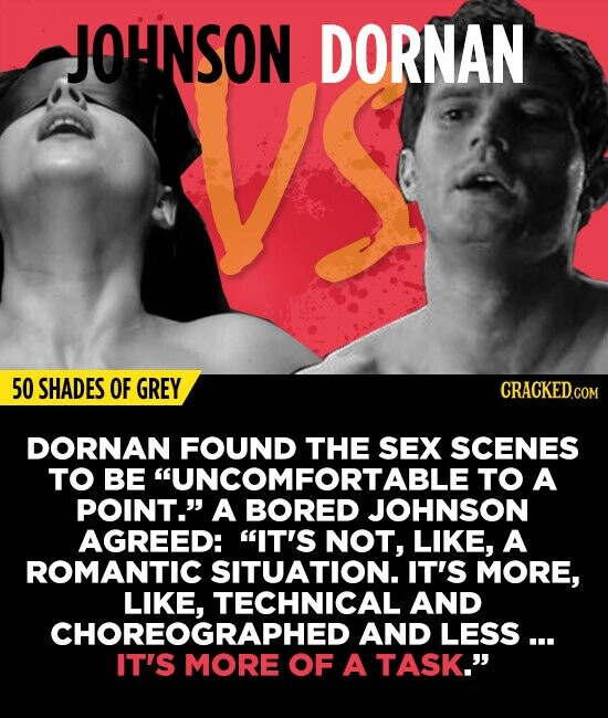 JOHNSON DORNAN 50 SHADES OF GREY DORNAN FOUND THE SEX SCENES TO BE UNCOMFORTABLETO A POINT. A BORED JOHNSON AGREED: IT'S NOT, LIKE, A ROMANTIC SITU