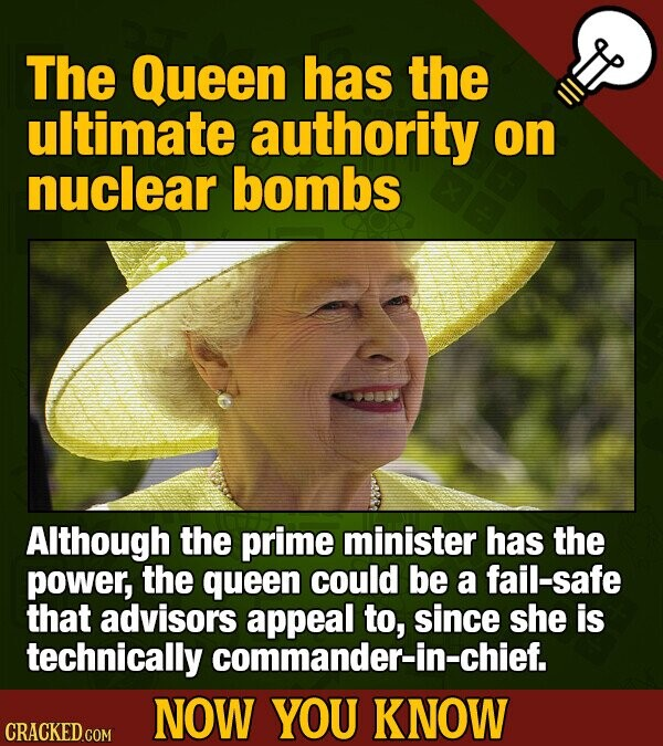 The Queen has the ultimate authority on nuclear bombs Although the prime minister has the power, the queen could be a fail-safe that advisors appeal to, since she is technically commander-in-chief. NOW YOU KNOW CRACKED COM