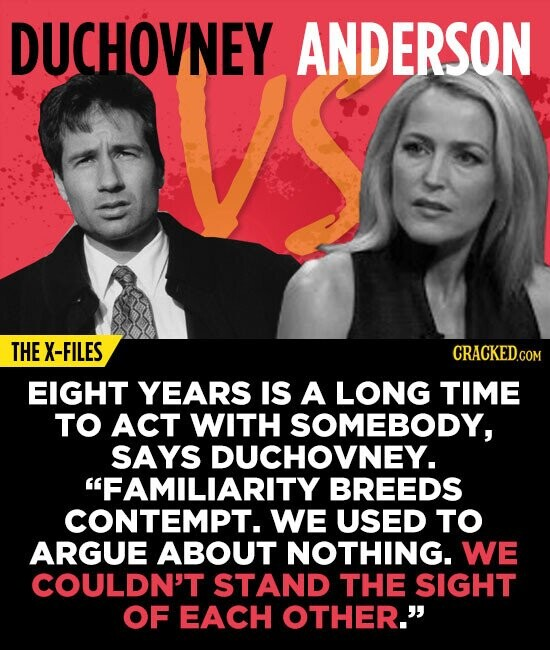 DUCHOVNEY ANDERSON THE X-FILES CRACKED.CON EIGHT YEARS IS A LONG TIME TO ACT WITH SOMEBODY, SAYS DUCHOVNEY. FAMILIARITY BREEDS CONTEMPT. WE USED TO A