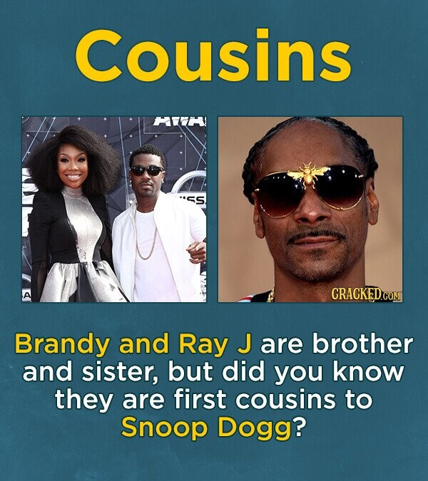 Cousins HE S CRACKEDC Brandy and Ray J are brother and sister, but did you know they are first cousins to Snoop Dogg?