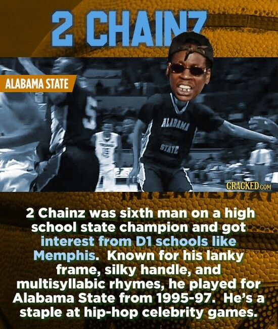 2 CHAINZ ALABAMA STATE ALABAMI STATE 2 Chainz was sixth man on a high school state champion and got interest from D1 schools like Memphis. Known for his lanky frame, silky handle, and multisyllabic rhymes, he played for Alabama State from 1995-97. He's a staple at hip-hop celebrity games.