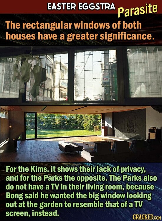 EASTER EGGSTRA Parasite The rectangular windows of both houses have a greater significance. FDE For the Kims, it shows their lack of privacy, and for the Parks the opposite. The Parks also do not have a TV in their living room, because Bong said he wanted the big window looking out