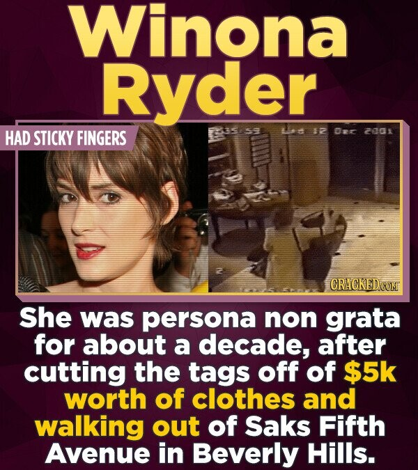 Winona Ryder HAD STICKY FINGERS d 12 Or 2008 CRACKEDCON She was persona non grata for about a decade, after cutting the tags off of $5k worth of cloth