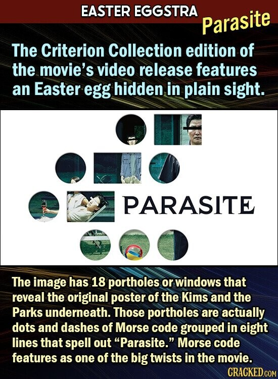 EASTER EGGSTRA Parasite The Criterion Collection edition of the movie's video release features an Easter egg hidden in plain sight. PARASITE The image has 18 portholes or windows that reveal the original poster of the Kims and the Parks underneath. Those portholes are actually dots and dashes of Morse code