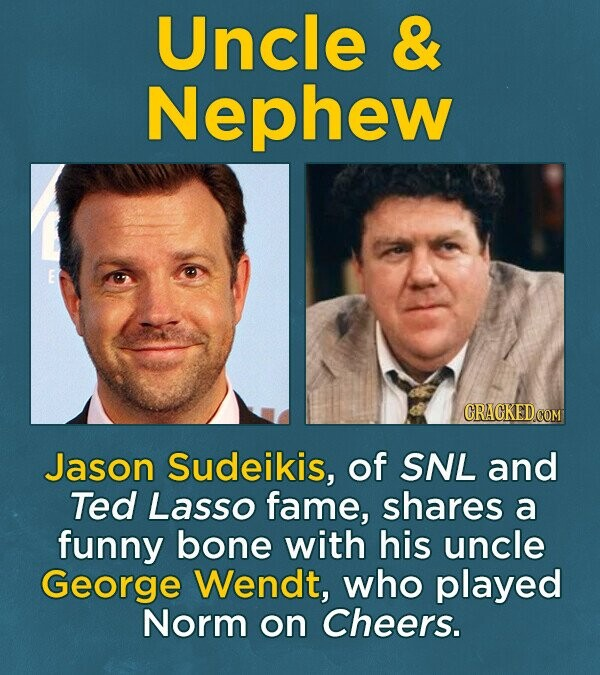 Uncle & Nephew Jason Sudeikis, of SNL and Ted Lasso fame, shares a funny bone with his uncle George Wendt, who played Norm on Cheers.