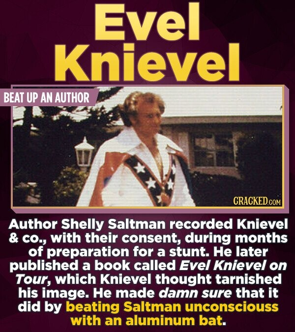 Evel Knievel BEAT UP AN AUTHOR Author Shelly Saltman recorded Knievel & CO., with their consent, during months of preparation for a stunt. He later pu