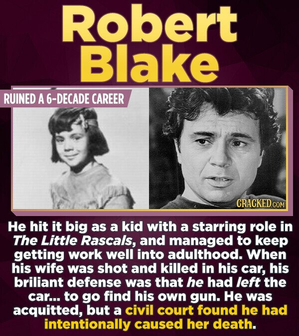 Robert Blake RUINED A -DECADE CAREER CRACKEDCO He hit it big as a kid with a starring role in The Little Rascals, and managed to keep getting work wel