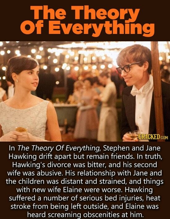 ThE Theory Of Everything CRACKEDc COM In The Theory Of Everything, Stephen and Jane Hawking drift apart but remain friends. In truth, Hawking's divorce was bitter, and his second wife was abusive. His relationship with Jane and the children was distant and strained, and things with new wife Elaine were