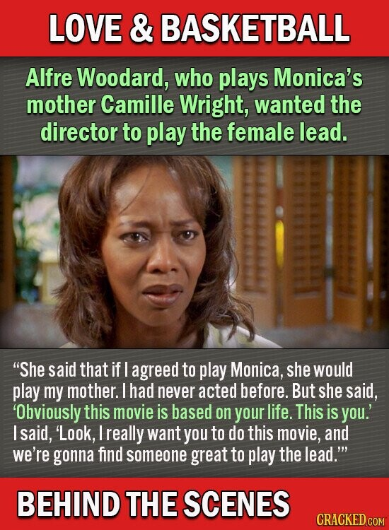LOVE & BASKETBALL Alfre Woodard, who plays Monica's mother Camille Wright, wanted the director to play the female lead. She said that if I agreed to play Monica, she would play my mother. I had never acted before. But she said, Obviously this movie is based on your life. This