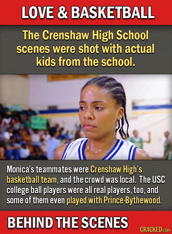 LOVE & BASKETBALL The Crenshaw High School scenes were shot with actual kids from the school. Monica's te ammates were Crenshaw High's basketball team, and the crowd was local. The USC college ball players were all real players, too, and some of them even played with Prince-Bythewood. BEHIND THE SCENES