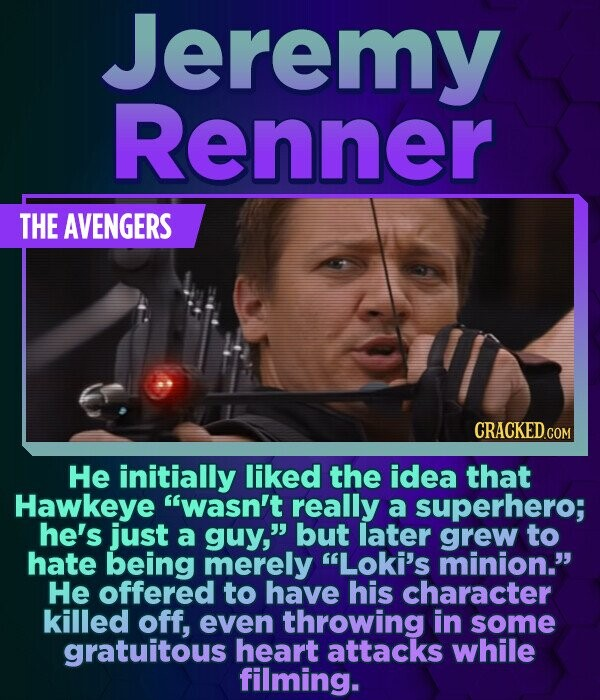 Jeremy Renner THE AVENGERS He initially liked the idea that Hawkeye wasn't really a superhero; he's just a guy, but later grew to hate being merely